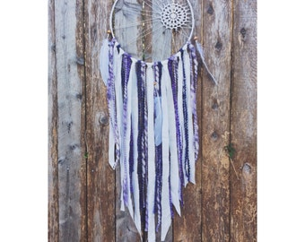 Purple and white wedding dream catcher- boho decor- wedding decor- bohemian nursery- doilie dreamcatcher- gifts for girls-white dreamcatcher