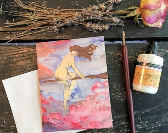 """Original Art Blank Notecard,Special Edition """"Magical Flight""""  Witch Cards,Invitation Cards,Sexy Witch Party Cards Halloween Invitation"""