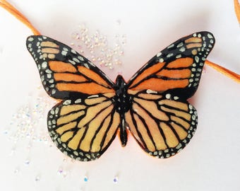 Orange Monarch Butterfly pendant. Handmade.