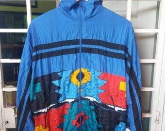 Vintage Bomber jacket multicolour design block full zipper/medium 40/42/hip hop