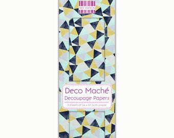 Triangle Repeat Pattern Decoupage Papers x 3 - First Edition