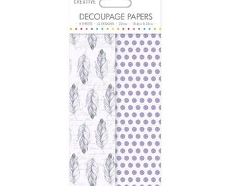 Purple Feathers Pattern Decoupage Papers x 4 - Simply Creative