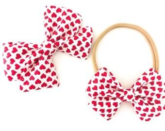 Signature Bow Ruby Heart - Girls Fabric Bow - Baby Girl Headband - Toddler Bow - Baby bow - Choose Nylon Headband or Clip