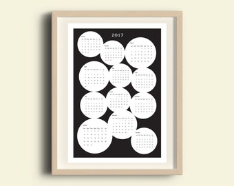 Black and White Calendar 2017 with big bubbles printable graphic calendar minimalist design calendar black and white 2017 calendar modern