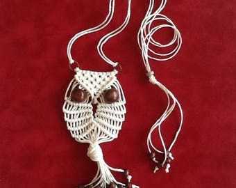 Adore the Cloth: Macrame Owl Necklace Natural Hemp Owl 1