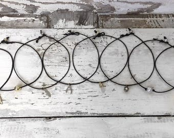 Dainty Black Cord Charm Choker Necklace