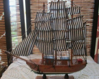 Ship Ornament -  Wooden and Fabric Ship Boat Ornament