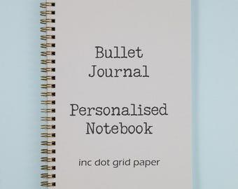 Bullet Journal | Personalised Dot Grid Notebook | Personalised Dot Grid Journal | Typewriter Font |  Custom Notebook | Personalised Journal
