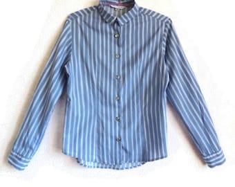 MARIMEKKO  Jokapoika Shirt Blue & White Striped Long Sleeves Shirt Women's Shirt Cotton Shirt Marimekko Blouse XS Size
