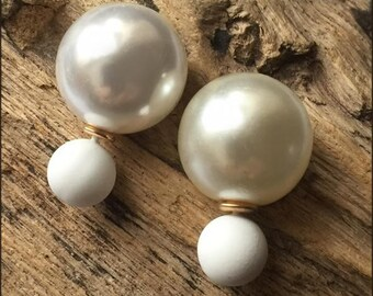 Beautiful and classy white double pearls earrings (French style tribal chic studs)
