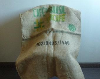 Large jute canvas 5 bag, 1970s vintage