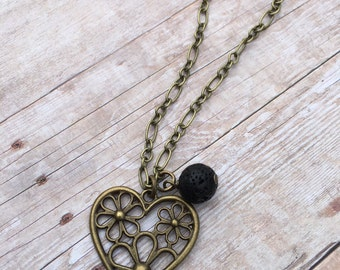 Daisy Heart Antique Bronze Essential Oil Diffuser Pendant Necklace Lava Stone Necklace Long necklace Essential Oil Necklace Diffuse