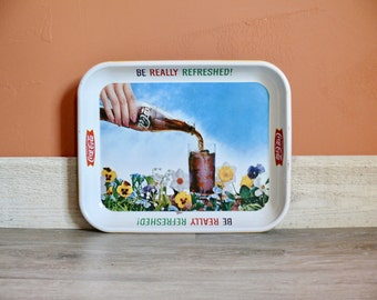 Retro Coca Cola Porcelain Metal Tray, 'Be Really Refreshed', Spring Flowers, Vintage 60s Coca Cola Advertising