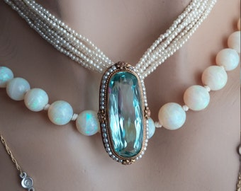 Victorian Aquamarine 14k Gold Seed Pearl  Necklace Pendant Brooch Unique One Of A Kind Exceptional