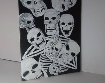 Skeleton and skull acrylic painting, lost souls,