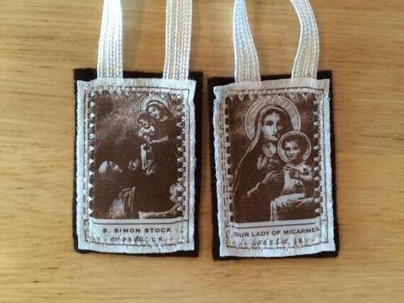 Handmade Catholic Carmelite Brown Scapular of Our Lady of Mt. Carmel with White Braids