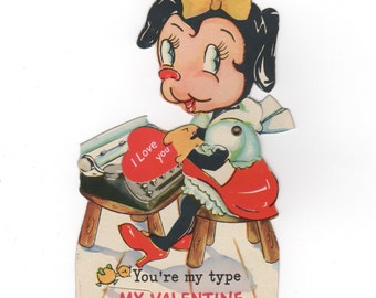 You're My Type. Vintage Valentine's Day card 1930s. Collectible ephemera. Mechanical card moving arm.