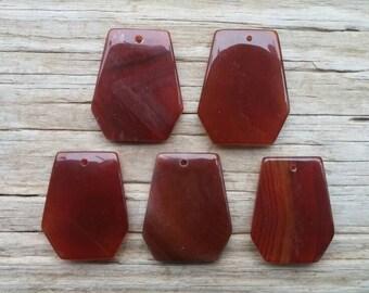 5 Red Agate Geometric Pendants, 40mm