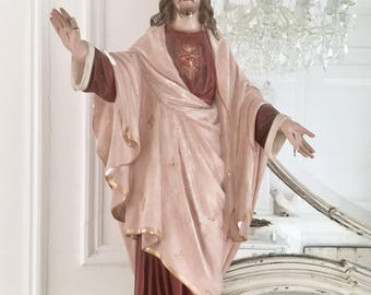 Stunning antique French Jesus statue