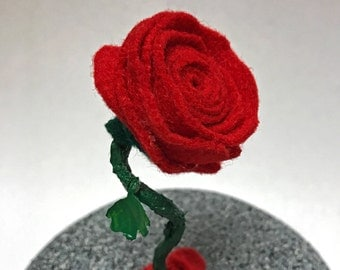 Little Rose, Enchanted Rose, Beauty and the Beast Rose, Red Rose, Small Rose, Felt Rose, Rose Gift, Gift for Her, Wedding Gift, Wedding Rose