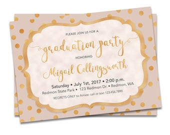 Graduation Invitation Pink and Gold, Pink and Gold Graduation Invitation Printable, Graduation Party Invitation Pink and Gold
