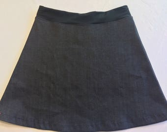 Stretch Denim Activewear/Officewear Skirt with Adjustable Tie Comfortable A-Line Cut Skims over Hips