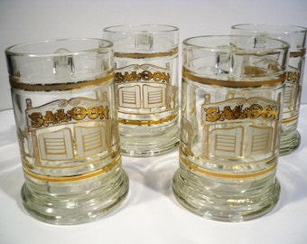 Vintage Culver Beer Mugs, Vintage Set of 4, Culver Beer Mugs,  22k 16 oz Old Fashion Beer Tankard, SALOON, Vintage Mid Century Barware
