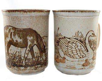 Duncan Ceramics mugs • pair, set of 2 stoneware coffee mugs • brown horse, swan • retro 70s rustic mugs • textured glazed • made in Scotland