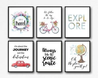 25 Prints - Travel Adventure Printable Set - Instant Download