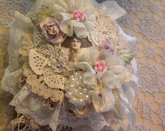 Vintage style fabric and lace book