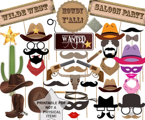 Cowboy Photo Booth Props Western Party Props Wild West