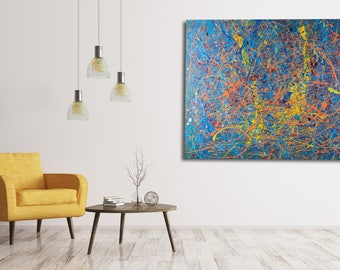 """Release: A large, 36"""" x 50"""" original, abstract painting, yellow, blue, wall art on canvas"""