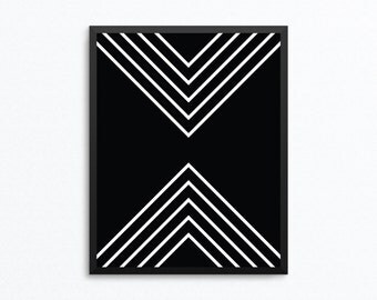 Geometric Print, Black and White Art, Abstract Art, Geometric Art, Minimalist Art, Modern Print, Digital Download, Digital Print