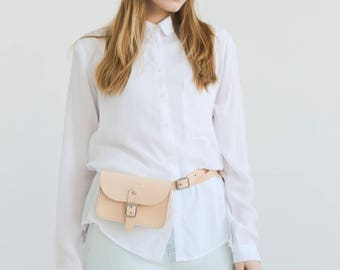 Leather Belt Bag (Natural) - One compartment to fit your minimal essentials – a mobile, a small wallet, keys and cards.