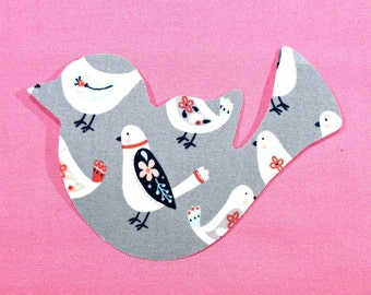 Bird Iron On Applique Patch, Grey Gray and Coral, Whimsical Birdie, Baby Bird Quilt, Baby Body Suit Accent, Birdie Bib