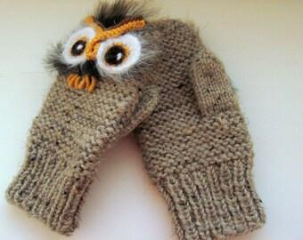 Owl  mittens |  Baby knit  mittens| girls mittens | wool mittens | Toddler Owl Mittens | Cozy Mittens | cute owl mittens