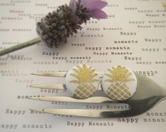 Gold Pineapple Earrings. Gold Earrings. Handmade Earrings. Fabric Button Earrings. Stud Earrings. Clip On Earrings. Fabric Bookmark.