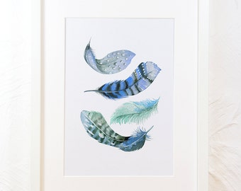 Feather artwork watercolour print four blue feathers, printable feather wall art, nature home nursery decor, digital instant download, A2 A4
