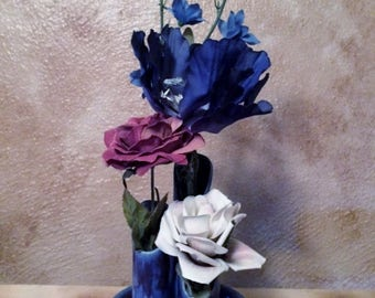 Pottery flower vase, wildflower vase, ceramic vase, flower vase, blue vase, bud vase, flower pot