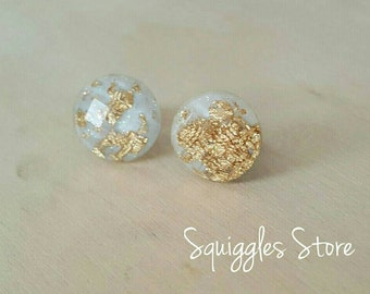 White Gold Leaf Faceted Round Stud Earrings Hypoallergenic Sensitive Ears