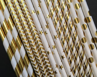 Assorted Colors Paper Straws, Party Straws, Pick your color! gold and White Straws