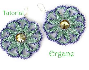 Flower Earrings Tutorial, Beading tutorial, earrings tutorial, beading pattern, beaded earrings tutorial, Ergane Beading