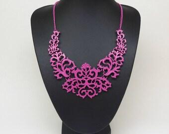 Pink Bib Statement vintage retro necklace,Pink necklace,pink chain, Short necklace,short necklace hot pink necklace,romantic necklace