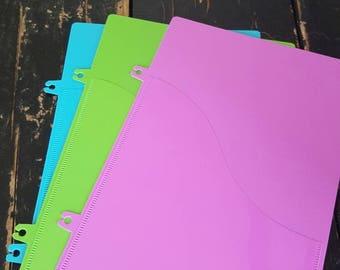 BLUE PLANNER POCKET   clip in, plastic file, add on, homeschool planner, teacher student planner, spiral bound, print lesson plans, agenda