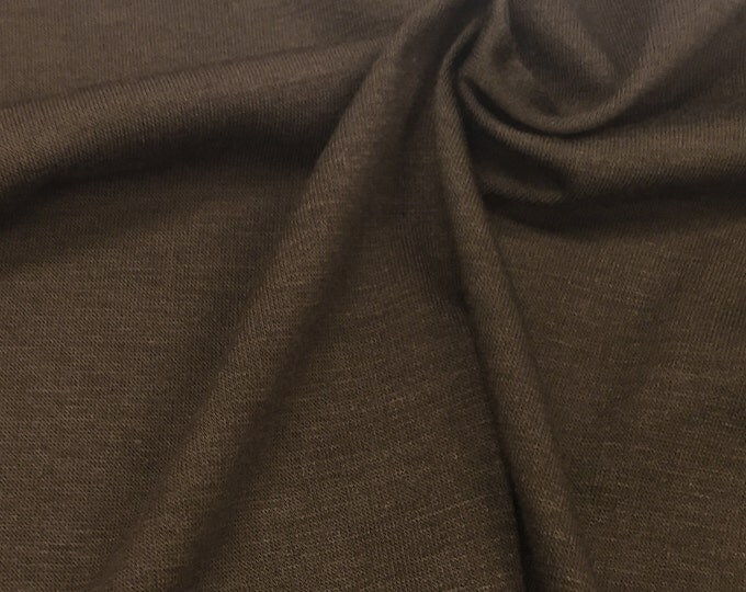 Cotton Jersey Knit Fabric With Spandex (Wholesale Price Available By The Bolt) USA Made Premium Quality - 3100BSU Chocolate - 1 Yard