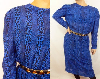 70s Animal Print Dress | Blue and Black Leopard Print and Snakeskin Striped Semi Sheer | Leslie Fay/ILGWU