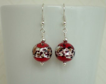 Murano Dark Red La Crima Silver Beaded Earrings