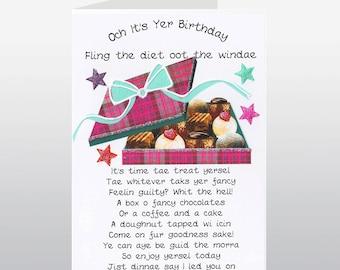 Scottish Birthday Card Chocolates WWBI40