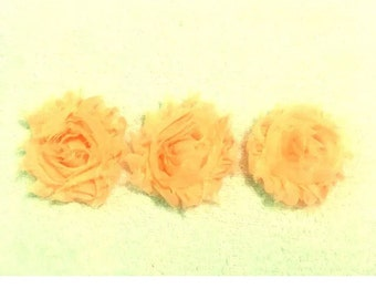 """Peach Gorgeous Shabby Frayed Chiffon Flower Rosettes 3 x 2.5"""", hair bands, clips, crafts etc"""