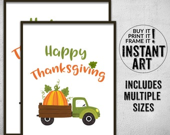 Happy Thanksgiving holiday printable typography print • thanksgiving holiday wall art • thanks giving printable •  home holiday decor